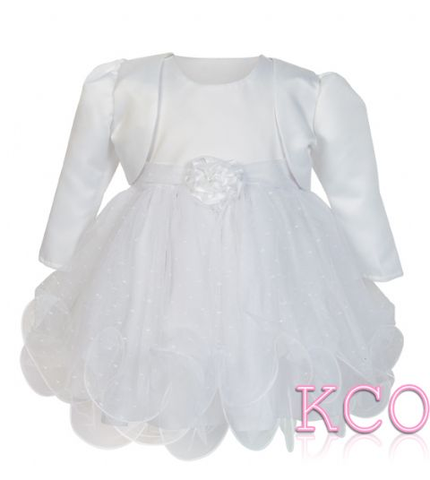 Baby Girls Dress ~ FJD924 Bolero Jacket and Dress White/White